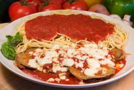 Eggplant Parmigiana with Spaghetti