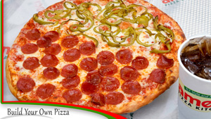 An Example of a Customized Pizza - Build Your Own Pizza, Pick Your Toppings of Meats and Veggies