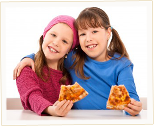 Two little girls enjoying a delicious slice of pizza.